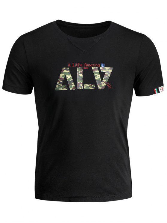 ladies Short Sleeve Graphic Camo T-shirt - BLACK 3XL