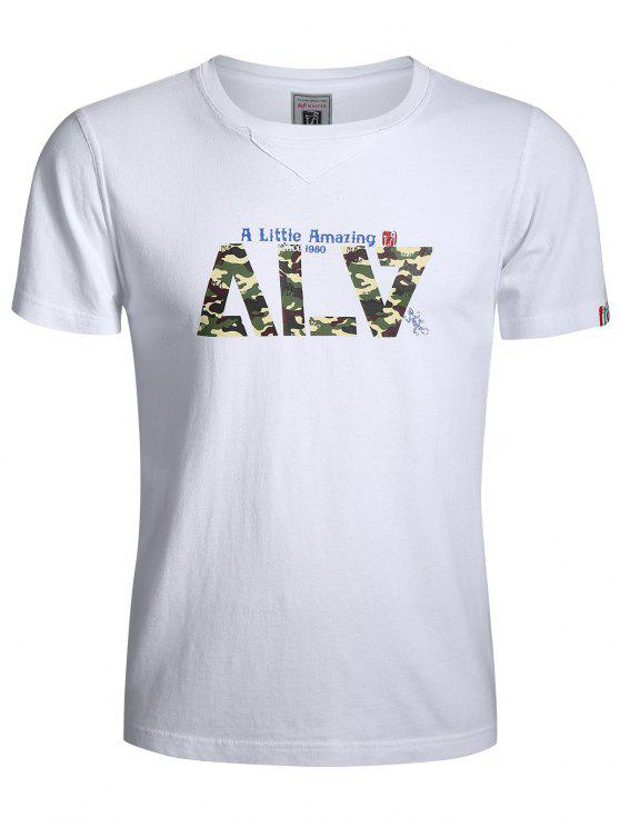 Maglietta Grafica A Camuffamento Con Maniche Corte - Bianca 3XL