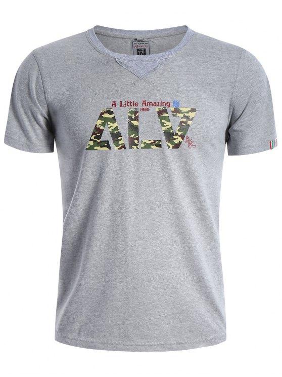 Camisa gráfica de manga curta Camo T-shirt - Cinza XL