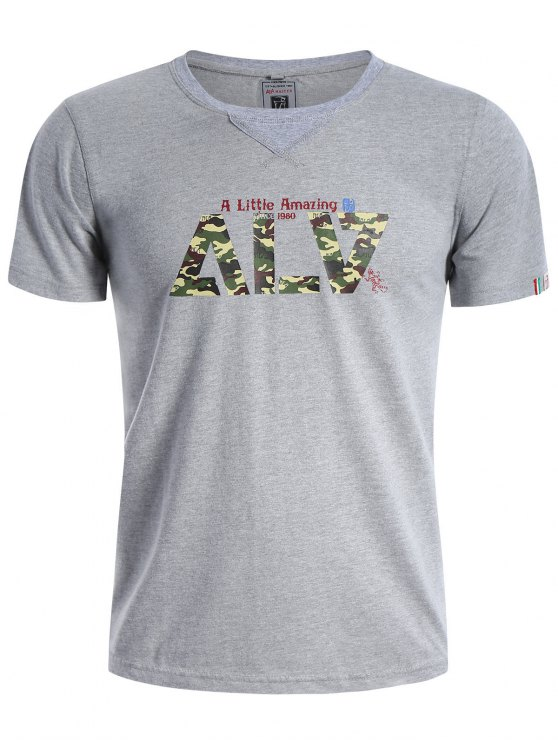 trendy Graphic Short Sleeve Men Camo T-shirt - GRAY L