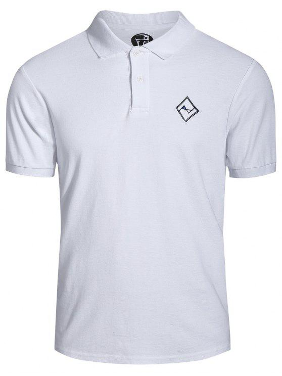 chic Men Embroidered Polo T Shirt - WHITE 2XL