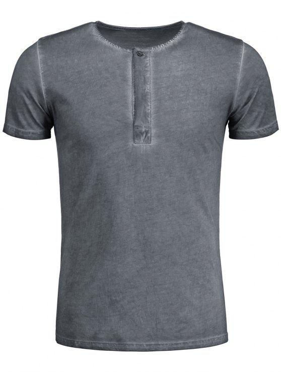T-shirt Henley Délavé - Gris 2XL