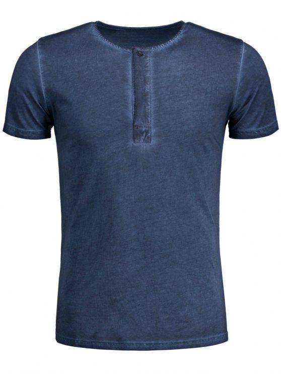 T-shirt Henley Délavé - Bleu 2XL