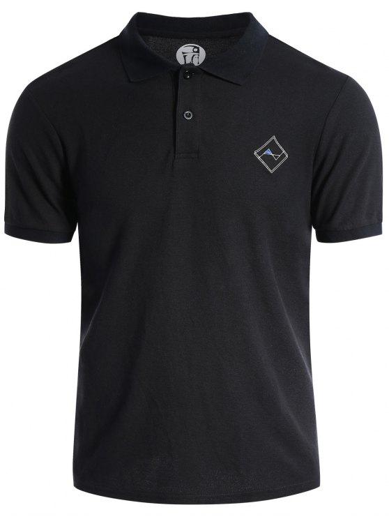 women's Men Embroidered Short Sleeve Polo T Shirt - BLACK 3XL