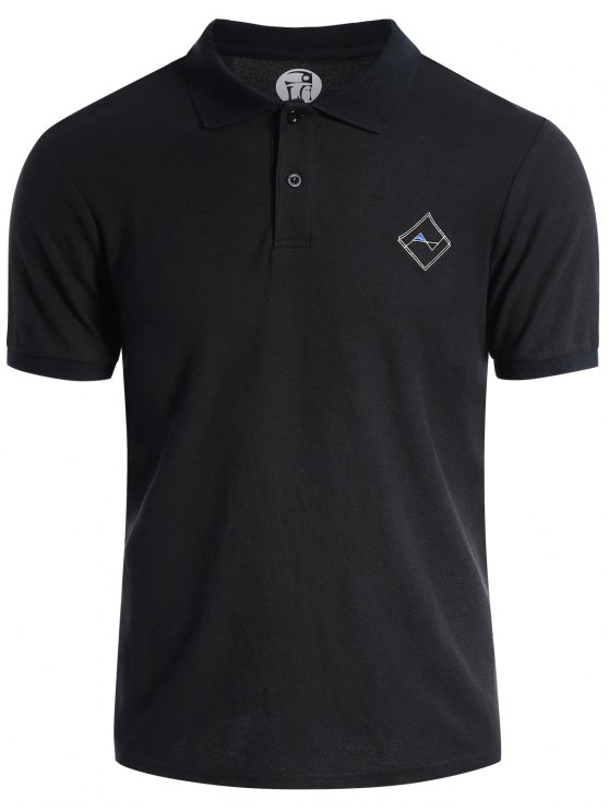 hot Men Embroidered Short Sleeve Polo T Shirt - BLACK L