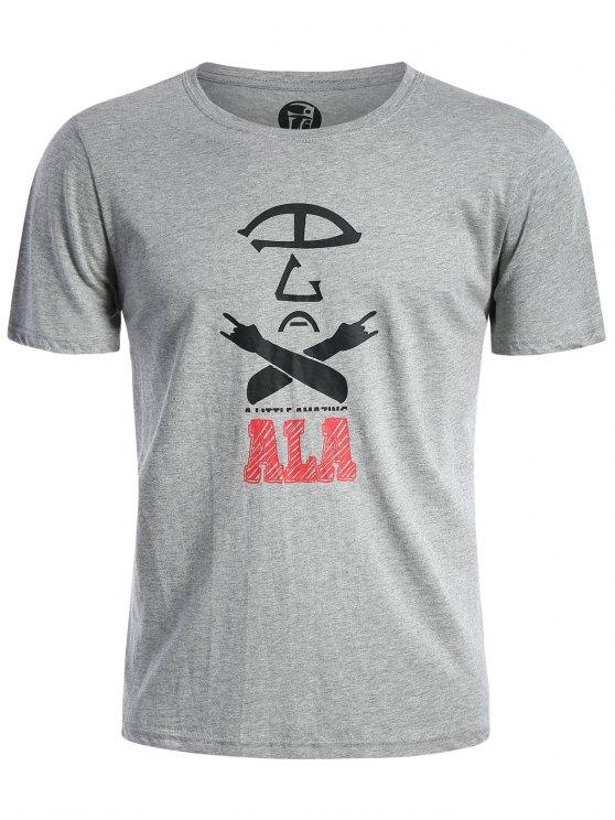 Kurzarm Baumwollmischung Grafik T-Shirt - Grau 3XL