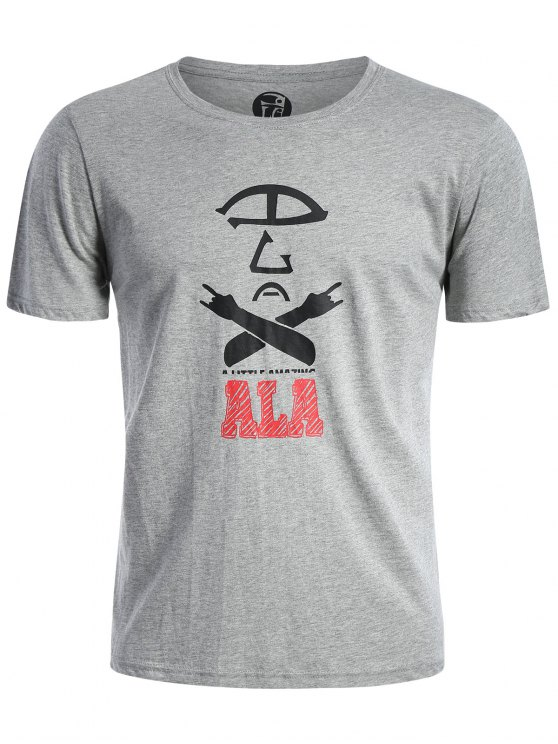Kurzarm Baumwollmischung Grafik T-Shirt - Grau 2XL