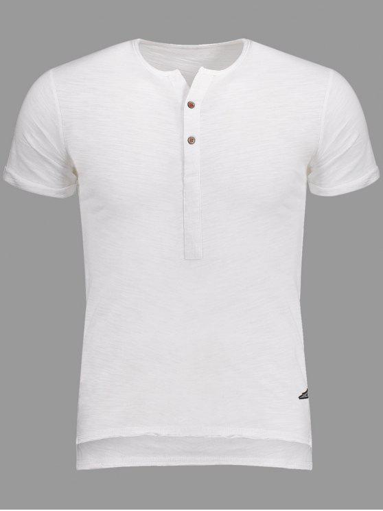 Slub Cotton Mens Henley - Blanc L
