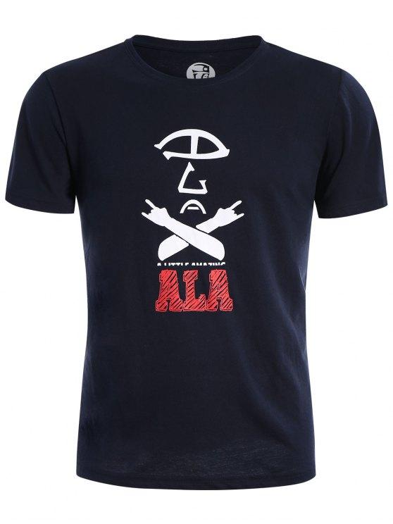 T-shirt Graphique en Coton Mélangé Col Rond - Bleu Violet L