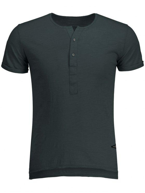 Slow Cotton Hombres Henley - Gris Oscuro M