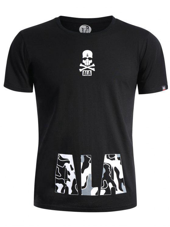 T-shirt Graphique Imprimé à Crâne Col Rond - Noir 2XL