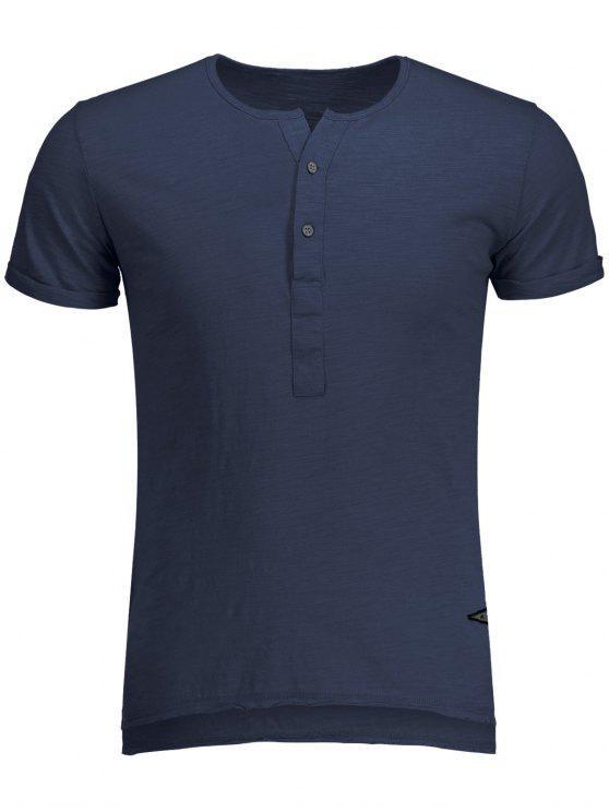 Slub Cotton Mens Henley - Bleu XL