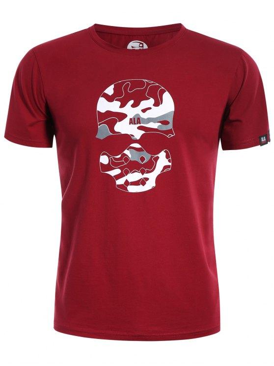 T-Shirt mit Schädel-Druck und Camo Grafik - Rot L