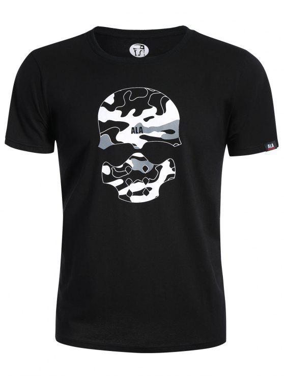 T-shirt graphique Camo imprimé crâne - Noir XL
