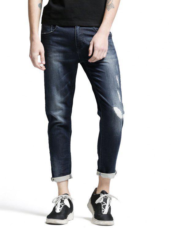 Jeans Usé avec Poche à Braguette à Glissière - Denim Bleu 36