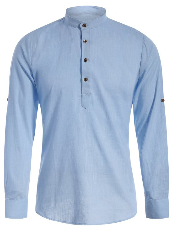 fancy Mandarin Collar Half Button Denim Shirt - LIGHT BLUE M