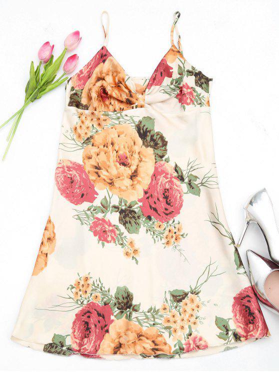 best Lustrous Floral Print Satin Slip Dress - MULTICOLOR ONE SIZE