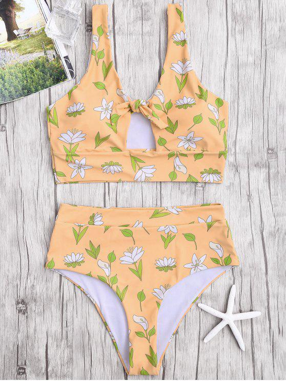 Blumige hohe Taille Bikini Badebekleidung - Khaki XL