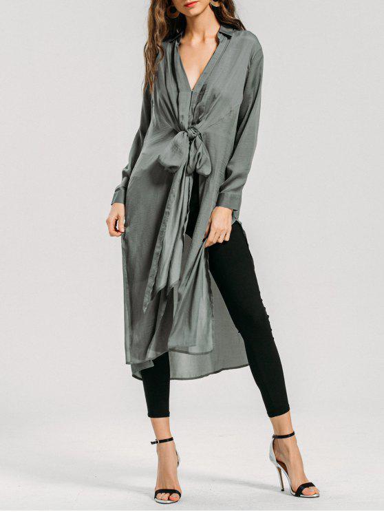 buy Longline Bowknot High Slit Shirt - SAGE GREEN S