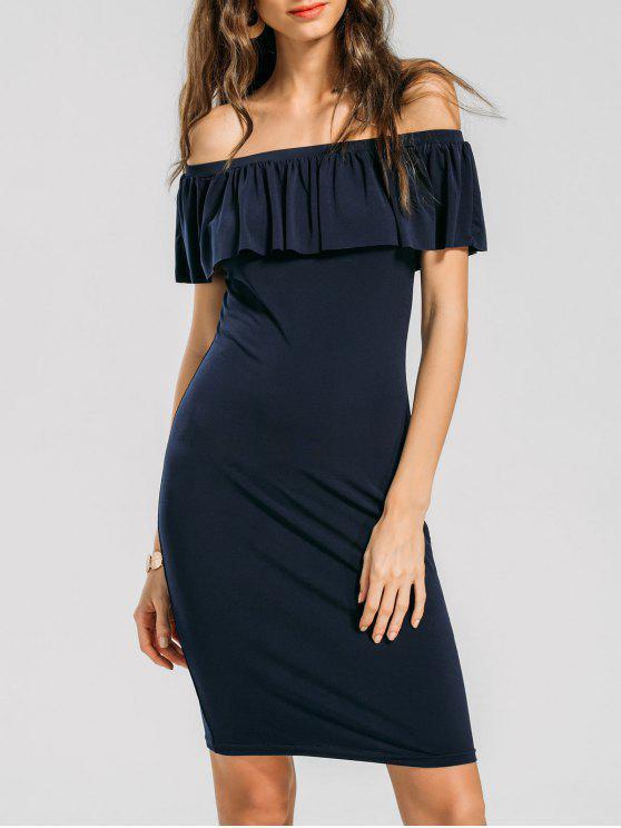 فستان بلا اكتاف ضيق - الأرجواني الأزرق XL