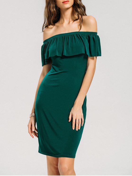 The Green Off Shoulder Midi Dress