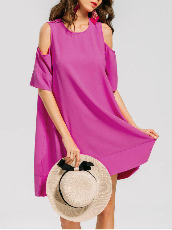 فستان تيه مريح باردة الكتف - وردة حمراء XL