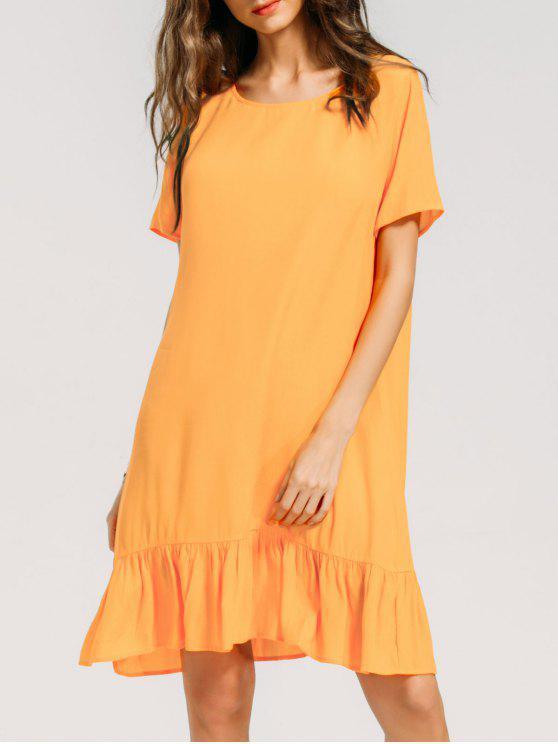 فستان ثقب المفتاح كشكش الحاشية مريح - اصفر برتقالي S