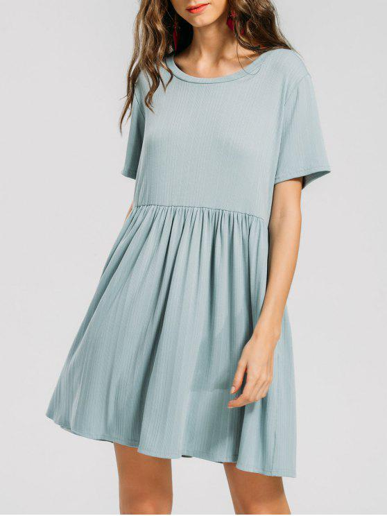 فستان محبوك كشكش مصغر - اخضر غامق XL