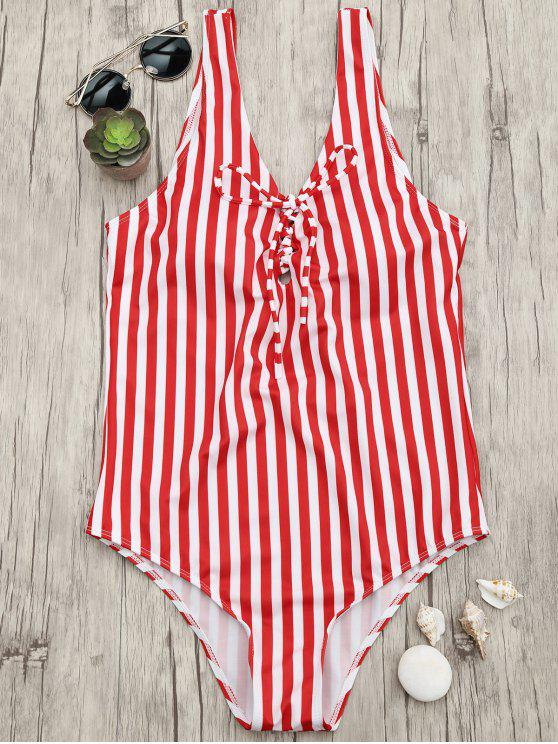 outfit Lace Up Striped One Piece Swimsuit - RED AND WHITE M
