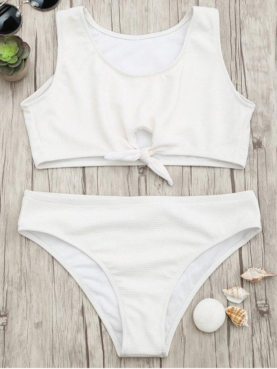 unique Textured Knotted Crop Bikini Set - WHITE L