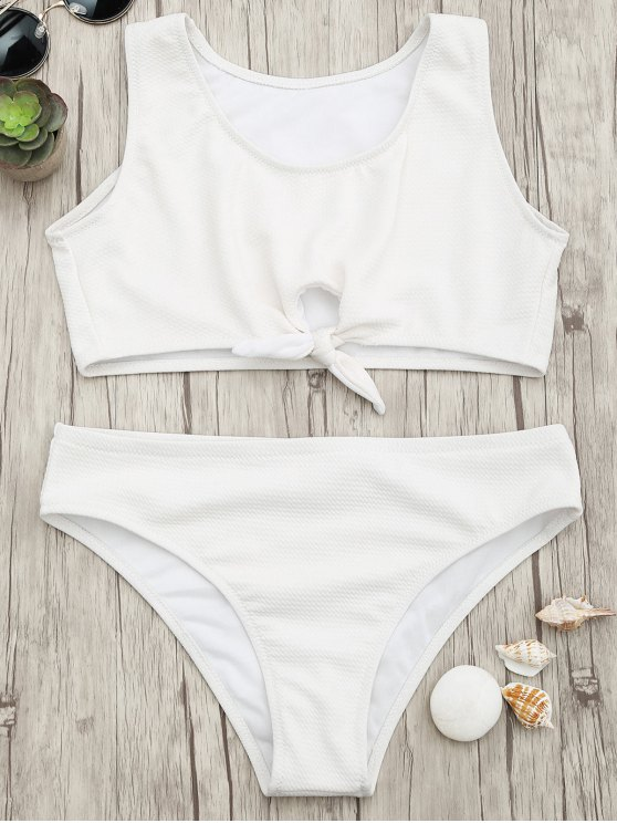 affordable Textured Knotted Crop Bikini Set - WHITE M