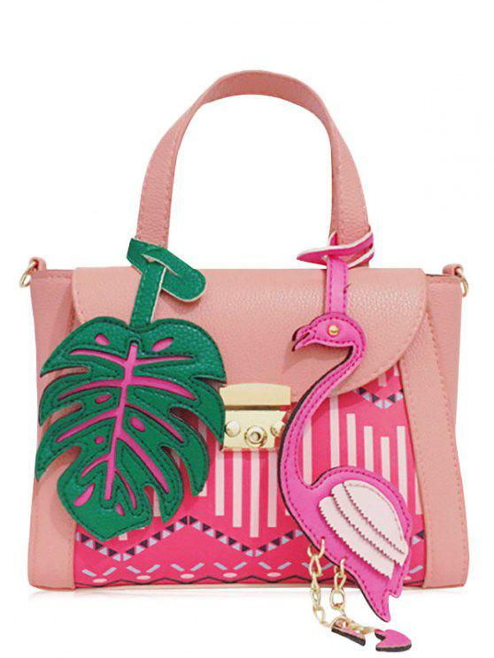Monstera Leaf and Flamingo Handbag - ROSE PÂLE