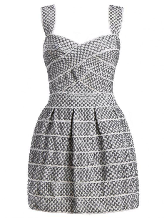 Sweetheart Neck Shiny Mini Dress - Blanc Argent M