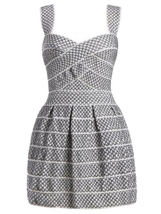 Cuello Cuello Mini vestido brillante - Blanco de Plata L