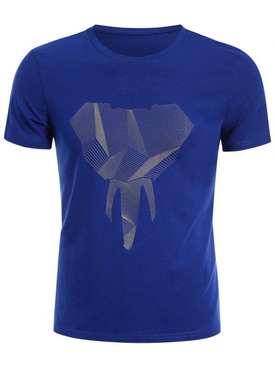 T-shirt Jersey Graphique Col Rond - Bleu 2XL