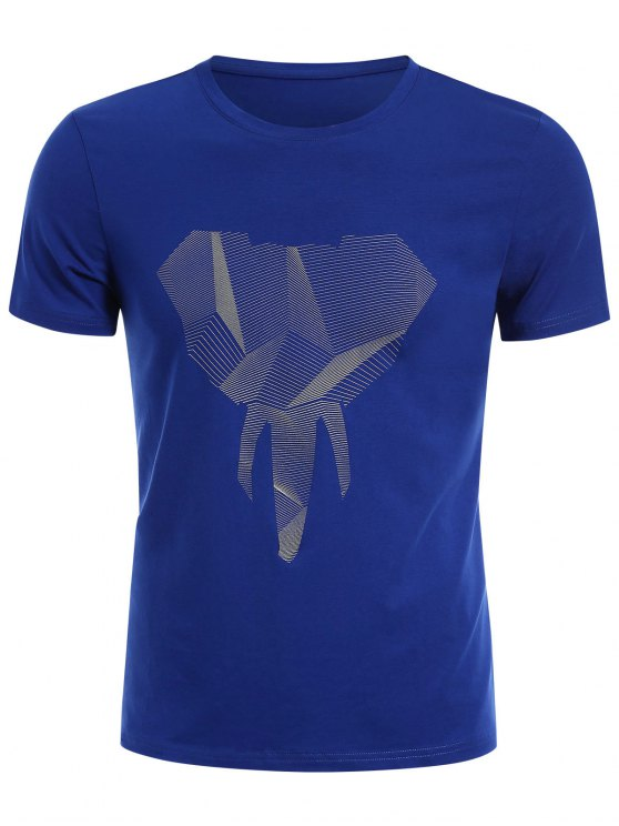buy Crewneck Graphic Mens Jersey Tee - BLUE XL