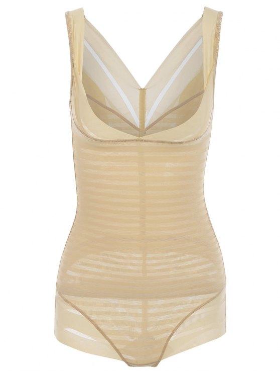 Underbrust Sheer Korsett Shapewear mit Streifenmuster - Fleischfarben L