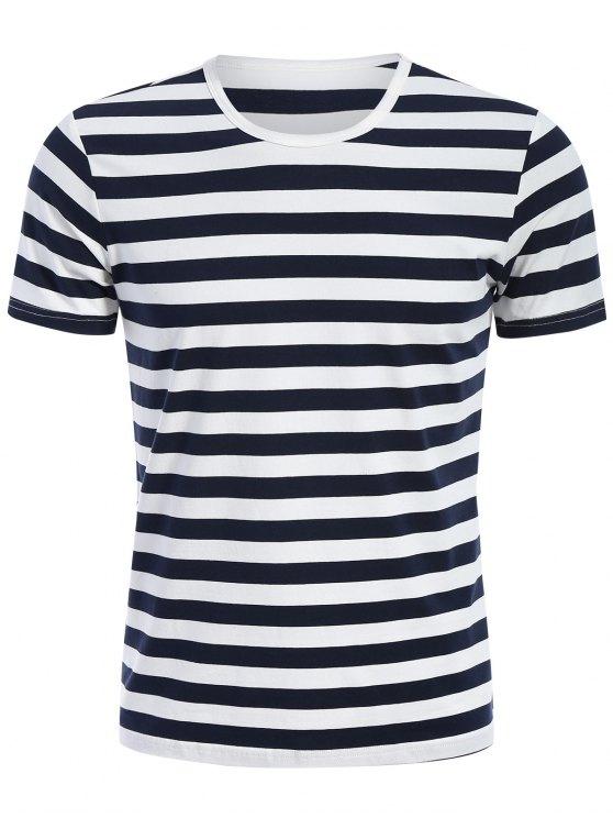 Camiseta rayada del jersey de Crewneck para hombre - Azul y Blanco XL