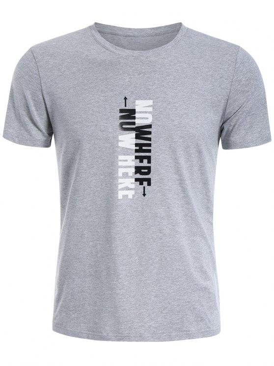 T-shirt Graphique Slogan Col Rond - Gris 2XL