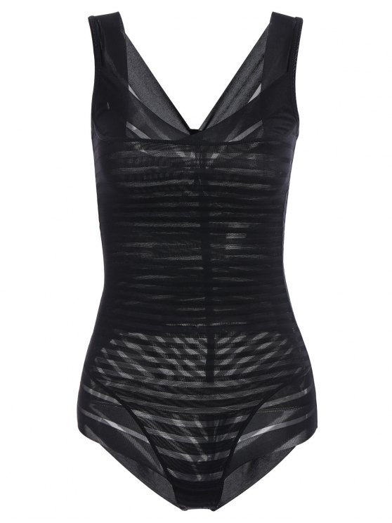 unique Underbust Sheer Stripe Body Corset Shaper - BLACK M