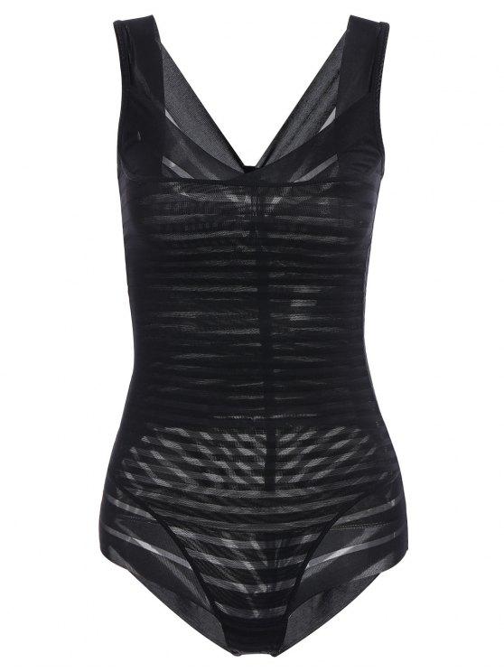 Underbust Sheer Stripe Body Corset Shaper - Noir S