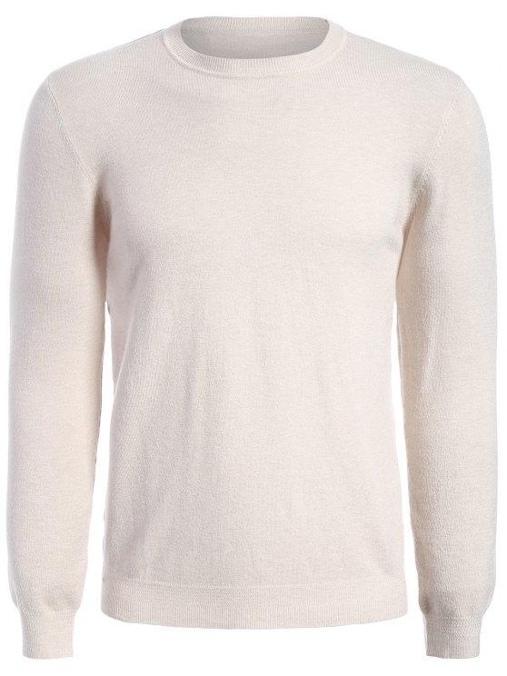 لباس المحبوك بلوفر طويلة الأكمام - مشمش XL
