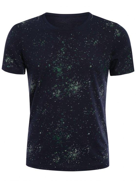 Bref T-shirt à manches courtes à manches courtes - Bleu Foncé 3XL