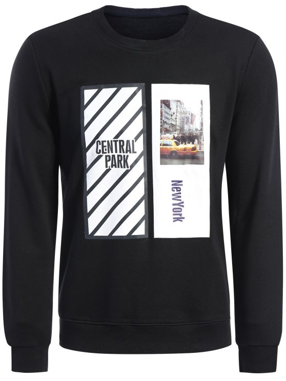 Pullover Graphic Print Sweatshirt - Noir 2XL