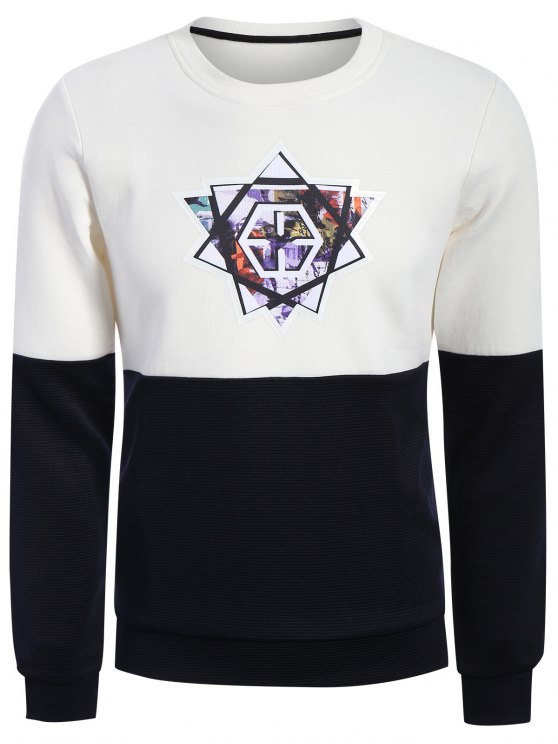 latest Pullover Graphic Color Block Sweatshirt - WHITE AND BLACK 2XL