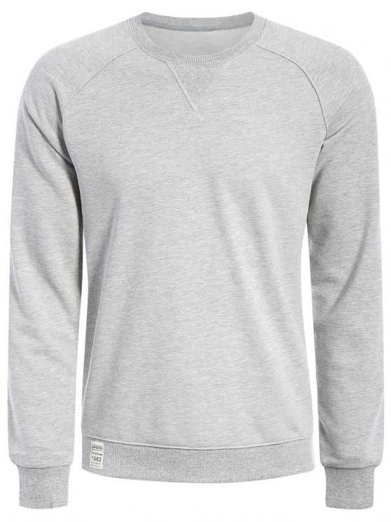ac717b813 Mens Terry Pullover Sweatshirt GRAY WHITE