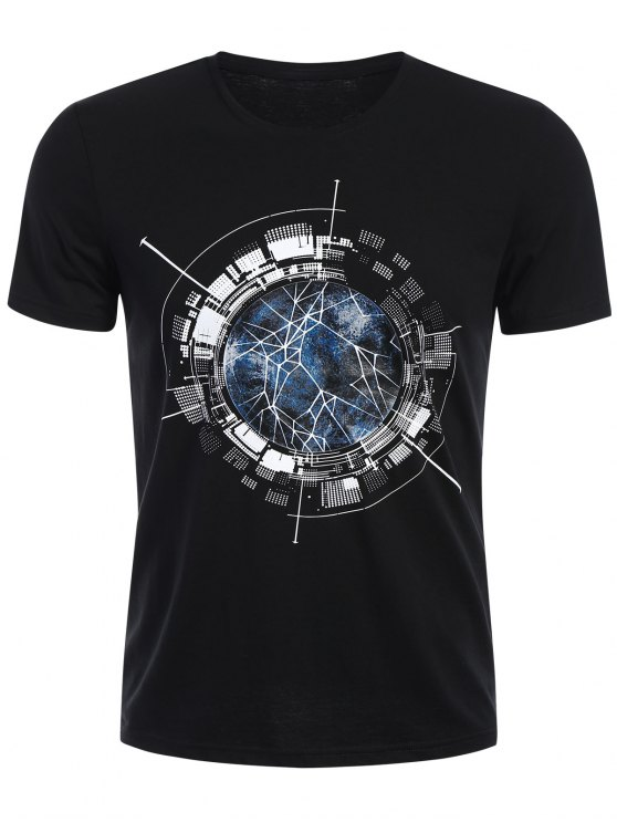 T-shirt Graphique Col Rond - Noir XL