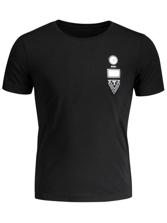 T-shirt Jersey Graphique Col Rond - Noir 3XL