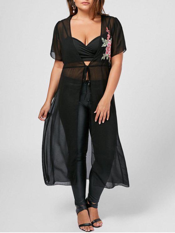 women Plus Size Sheer Applique Self Tie Coat - BLACK 5XL