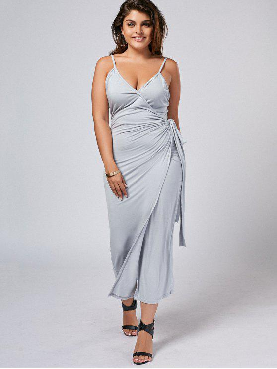 Slit Plus Size Wrap Slip Dress - Cinza 4XL